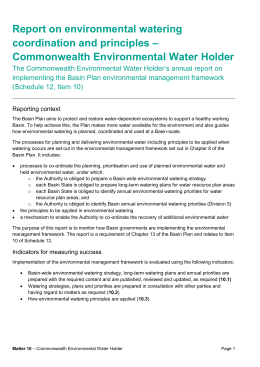 CEWH Matter 10 Reporting 2014-15 - Murray