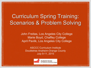 Curriculum Spring Training: Scenarios & Problem Solving