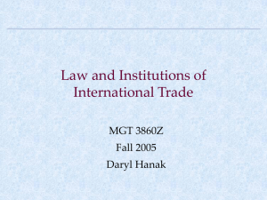 Law and Institutions of International Trade