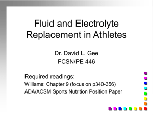 Fluids and electrolytes for athletes