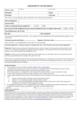Swinburne assignment cover sheet