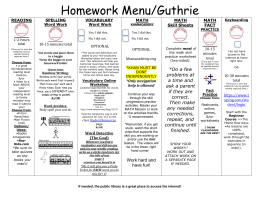 Homework Menu/Guthrie - San Juan Unified School District