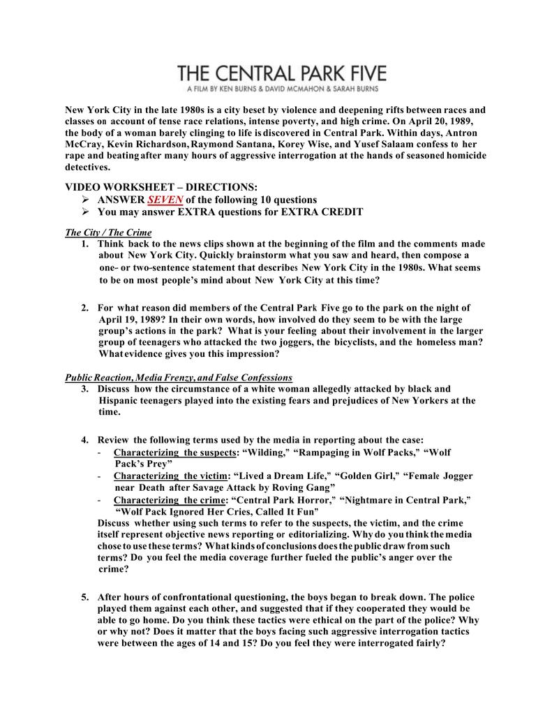 worksheet Impression Evidence Worksheet worksheet on the central park five