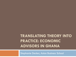 Advice never hurts the giver: The Role of Economic Advisors in Ghana
