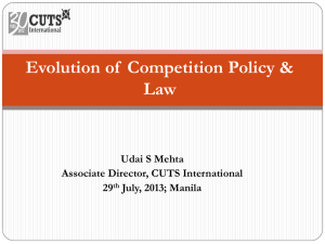 Evolution of Competition Policy & Law in the world