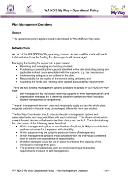 WA NDIS My Way – Operational Policy Plan Management Decisions