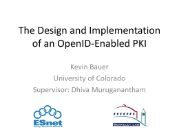 The Design and Implementation of an OpenID