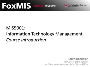MIS5001: Information Technology Management Course Introduction