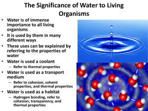 The Significance of Water to Living Organisms
