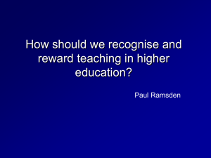 Recognising and rewarding excellent university teaching: where next?