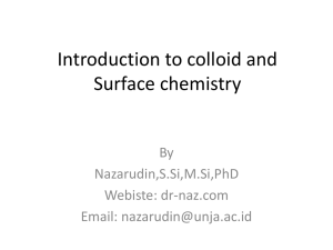 Introduction to colloid and Surface chemistry - dr