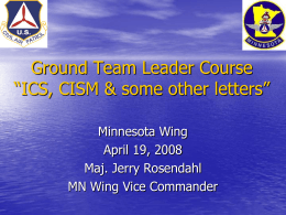 "Ground Team Leader Course ""ICS, CISM & some other letters"""