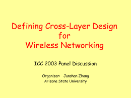 Define Cross-Layer Design for Wireless Networking