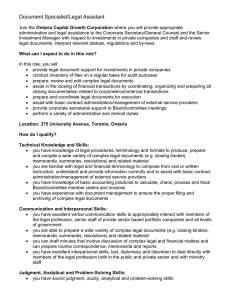 Document Specialist/Legal Assistant Join the Ontario Capital Growth