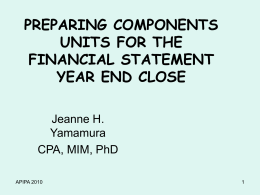 Preparing Component Units for the Year-End Close