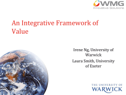 Value is… - University of Warwick