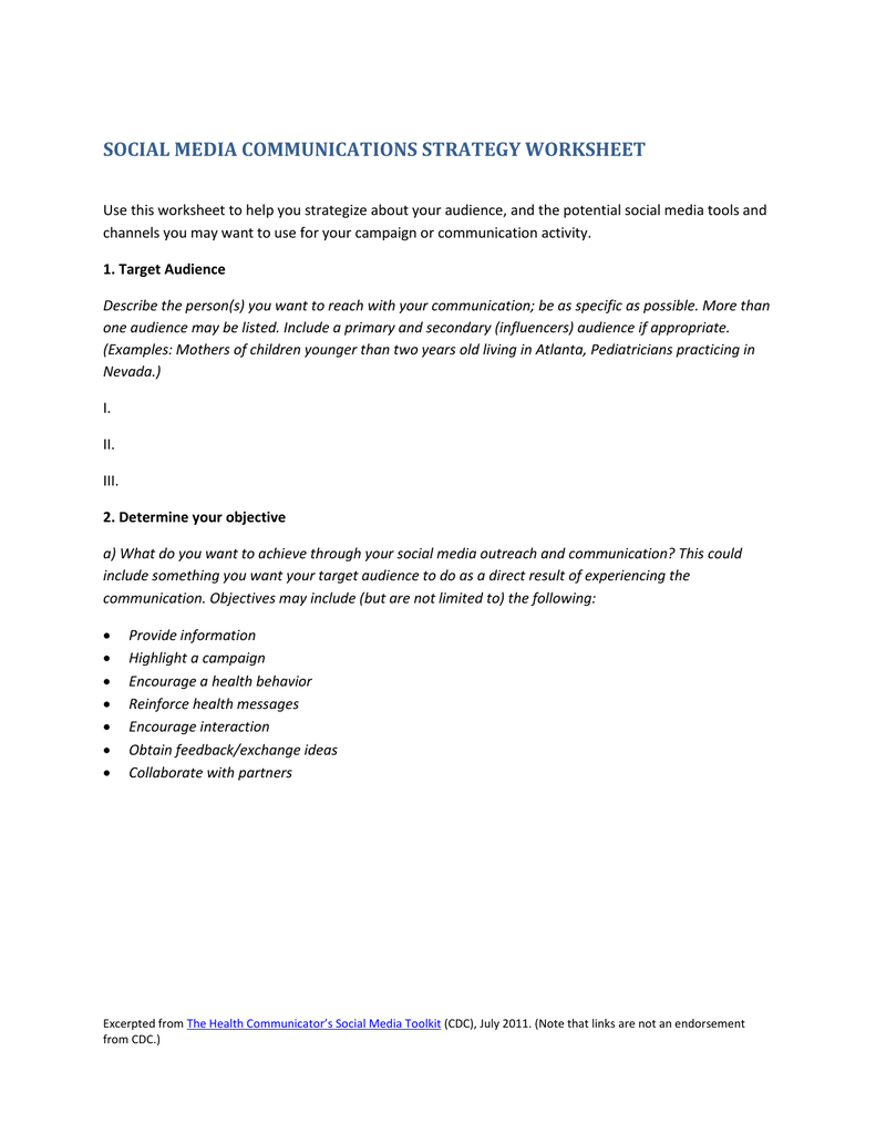 social media communications strategy worksheet