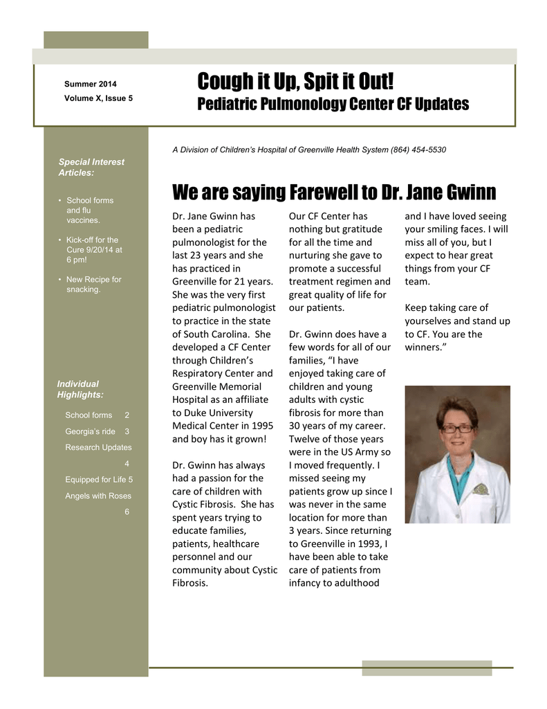 We are saying Farewell to Dr  Jane Gwinn