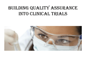 Building Quality Assurance into Clinical Trials