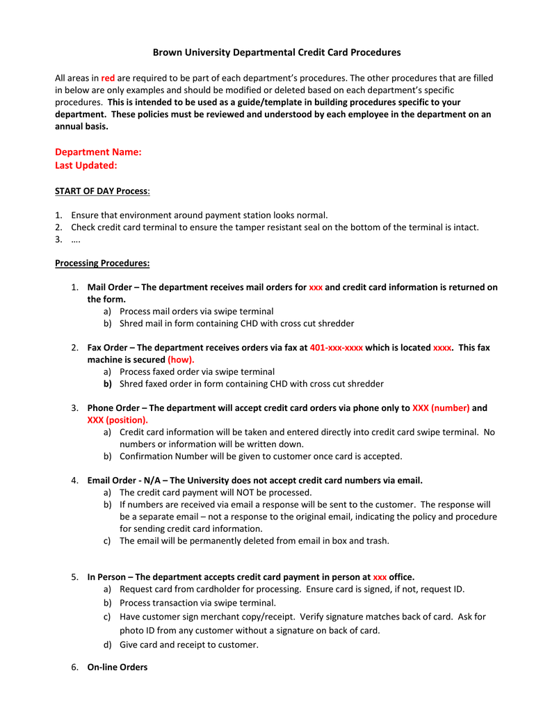 departmental credit card procedure template