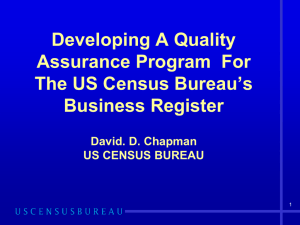 Developing A Quality Assurance Program For The US Census