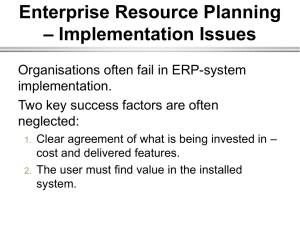 Enterprise Resource Planning – Implementation Issues