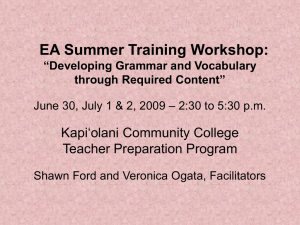 "EA Summer Training Workshop: ""Developing Grammar and"