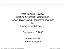 Post-Tenure Review Institute Oversight Committee Report Overview