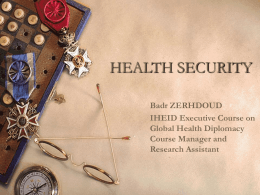 health security - Graduate Institute of International and Development