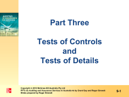 Tests of controls - McGraw Hill Higher Education
