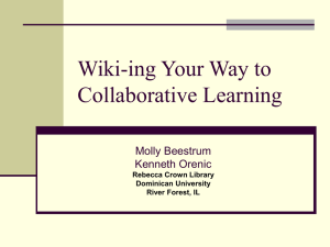 Wiki-ing Your Way to Collaborative Learning