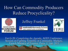 How Can Commodity Producers Make Fiscal & Monetary Policy