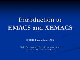 Introduction to EMACS and XEMACS