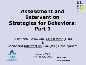 Assessment & Intervention Strategies for Behavior FBA & BIP