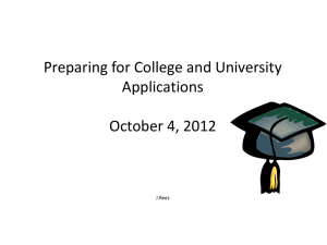 College and University Information October 4, 2012