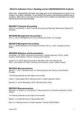 2012/13 Indicative Term-1 Reading List for UNDERGRADUATE