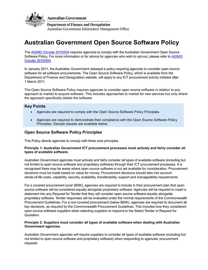 Australian Government Open Source Software Policy