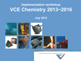 VCE Chemistry Implementation Workshop Presentation 2012