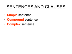SENTECES AND CLAUSES
