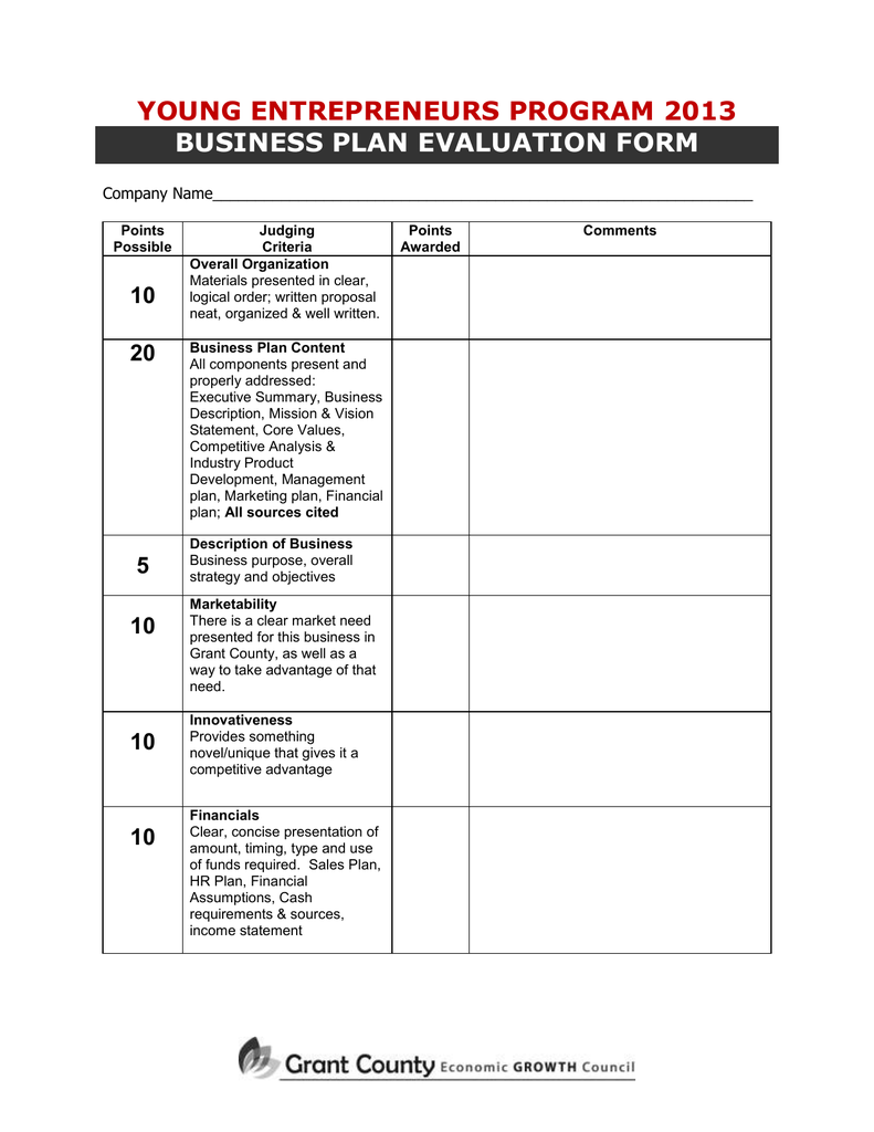 evaluation judging form  Business Plan Evaluation Form