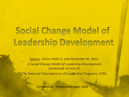A Social Change Model of Leadership Development Guidebook