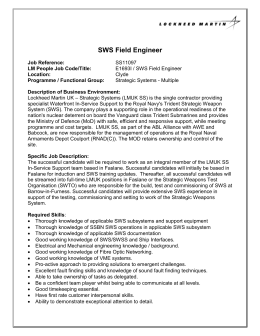 SWS Field Engineer