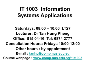 IT 1003 Information Systems Applications