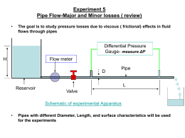 Experiment 5 Pipe Flow-Major and Minor losses