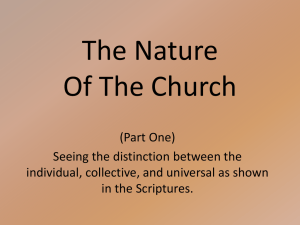 The Nature Of The Church (Part One)