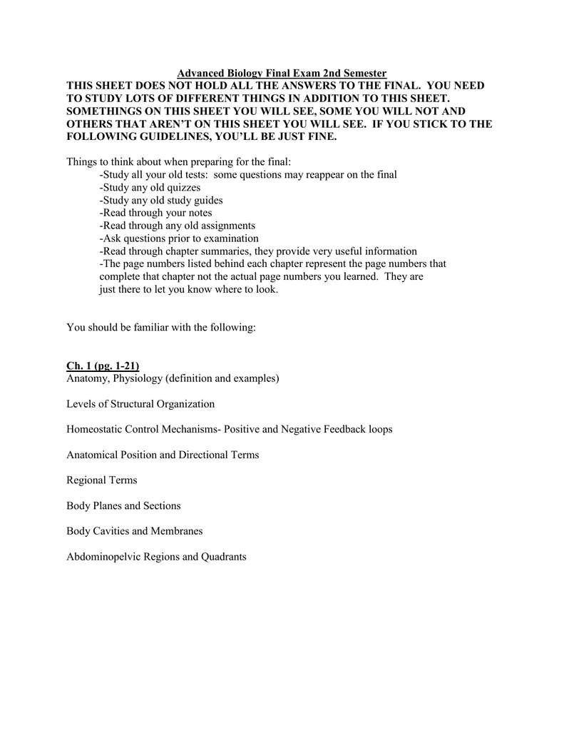 Advanced Biology Final Exam 2nd Semester This Sheet Does