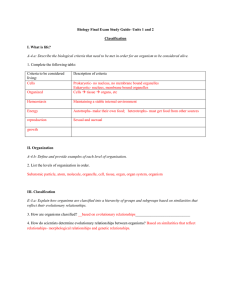 Final Exam Study Guide- Classification and Plants Answer Key