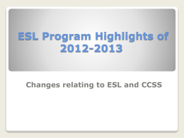 ESL Department Highlights of 2012-2013