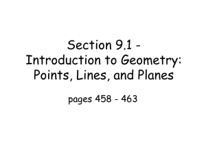 Section 9.1 - Introduction to Geometry: Points, Lines, and Planes