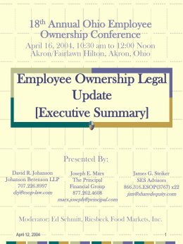 Employee Ownership Legal Update: Case Law, Regulatory and
